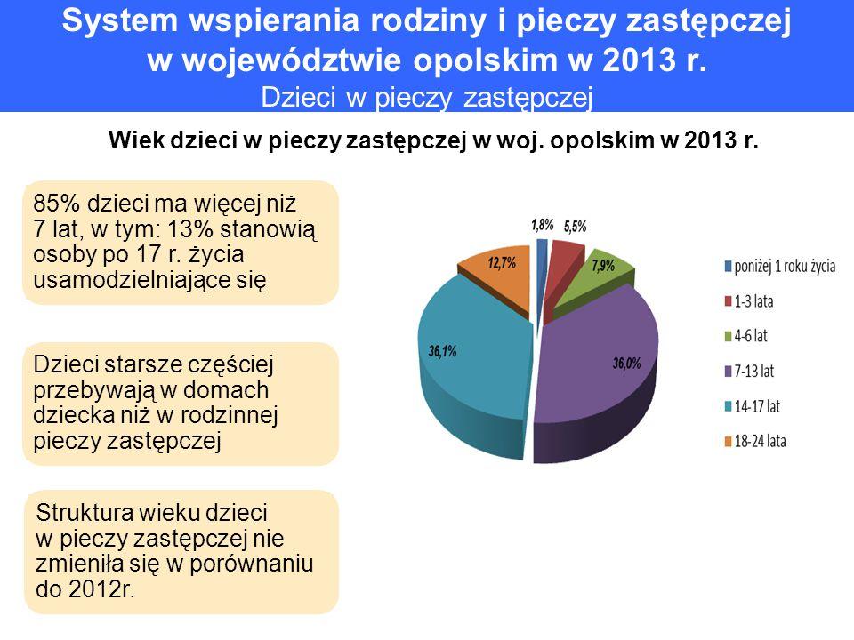 Wiek dzieci w pieczy zastępczej w woj. opolskim w 2013 r.