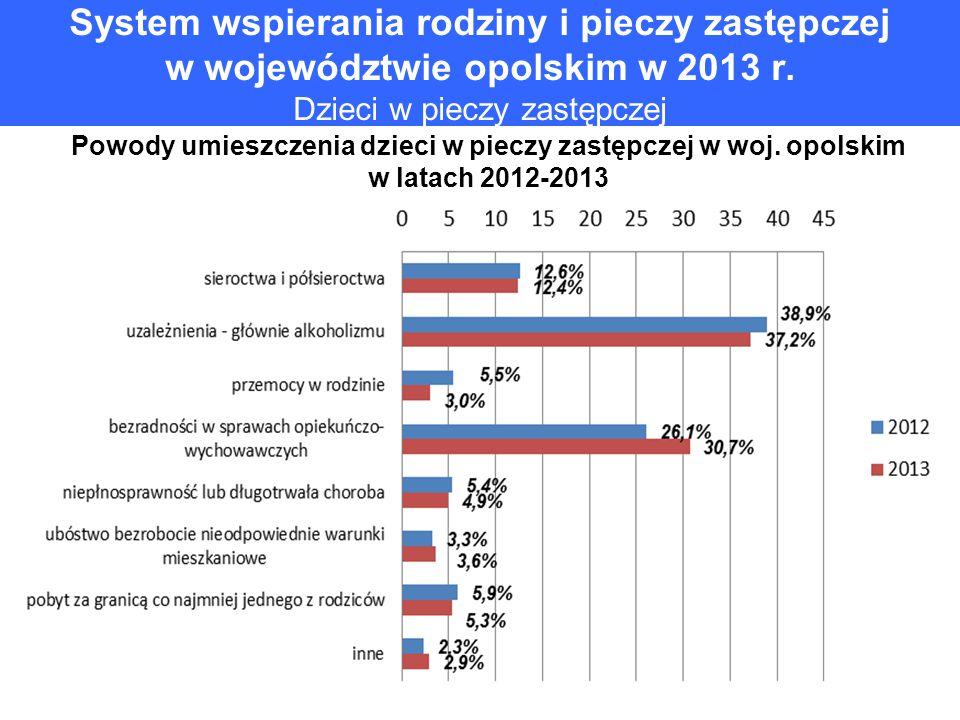 System wspierania rodziny i pieczy zastępczej w województwie opolskim w 2013 r. Dzieci w pieczy zastępczej
