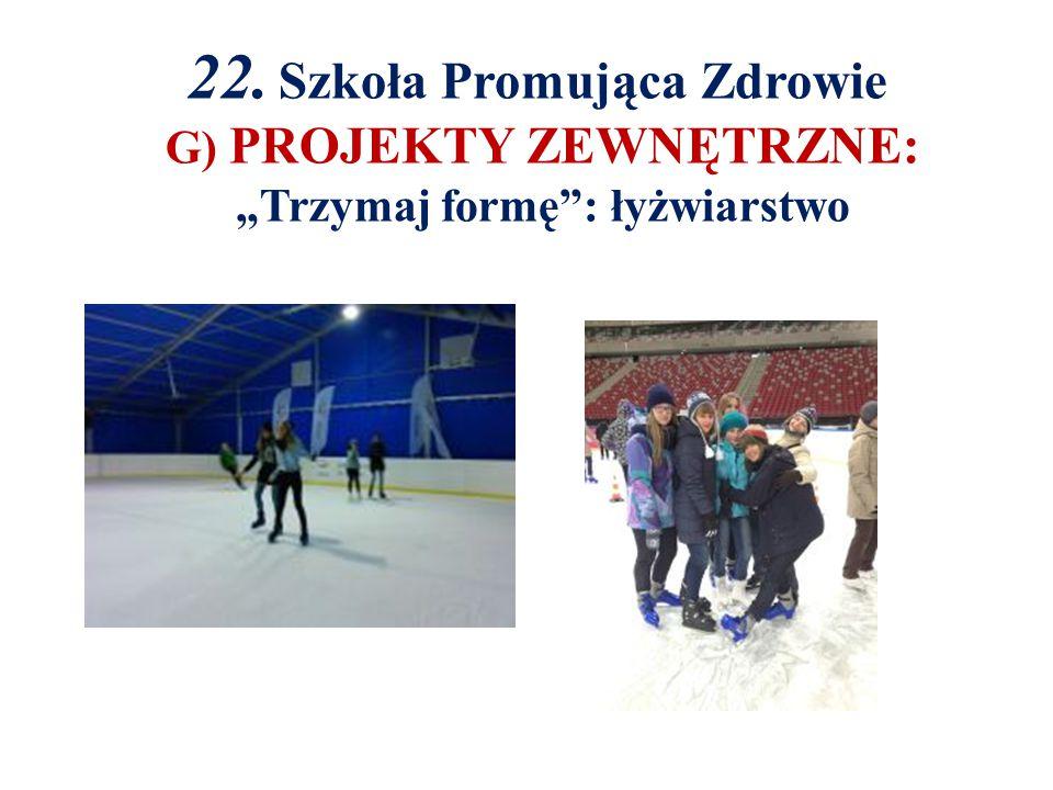 """22. Szkoła Promująca Zdrowie G) PROJEKTY ZEWNĘTRZNE: """"Trzymaj formę : łyżwiarstwo"""