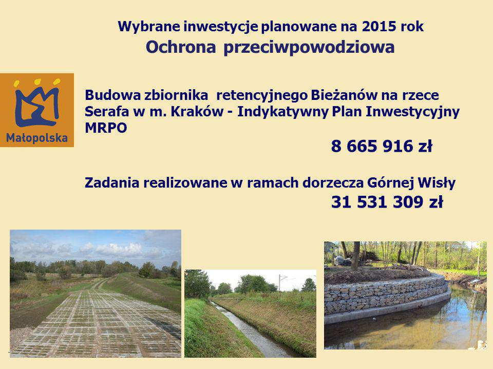 Wybrane inwestycje planowane na 2015 rok Ochrona przeciwpowodziowa