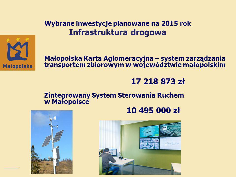 Wybrane inwestycje planowane na 2015 rok Infrastruktura drogowa
