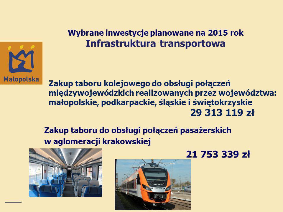 Wybrane inwestycje planowane na 2015 rok Infrastruktura transportowa