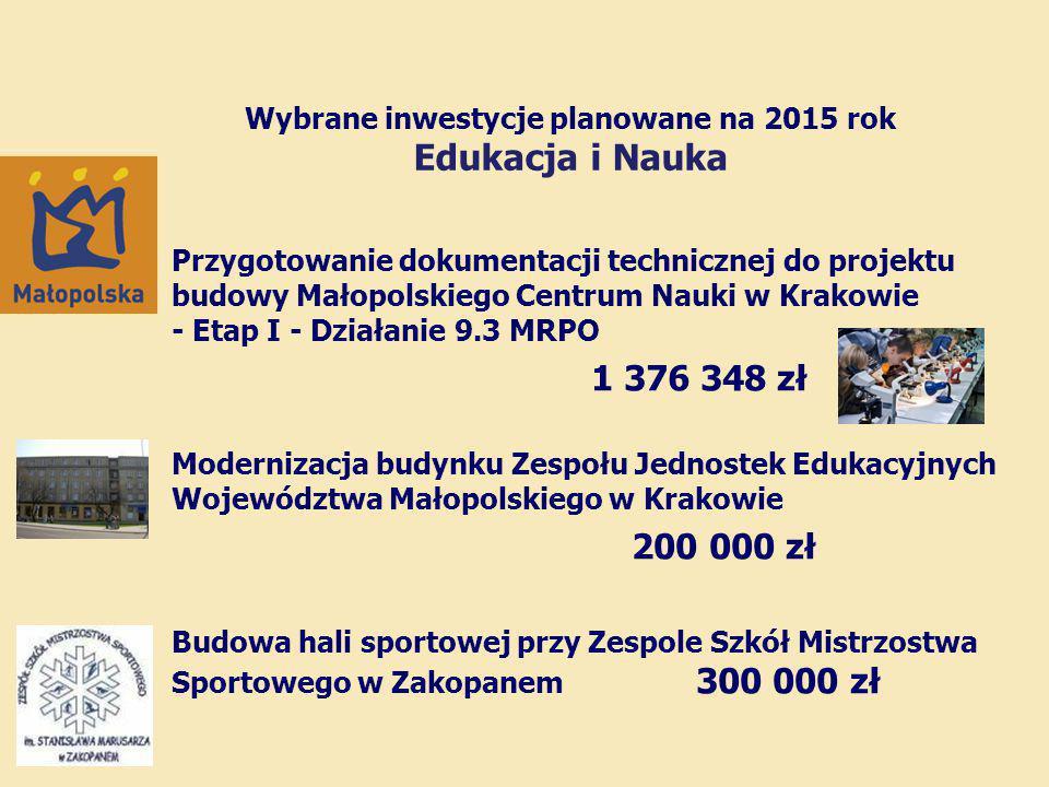 Wybrane inwestycje planowane na 2015 rok Edukacja i Nauka