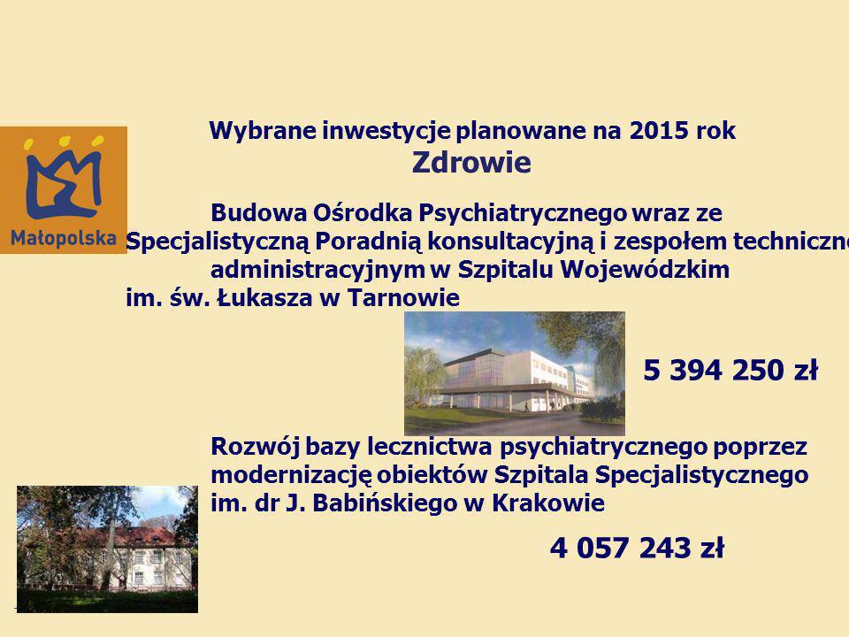 Wybrane inwestycje planowane na 2015 rok Zdrowie