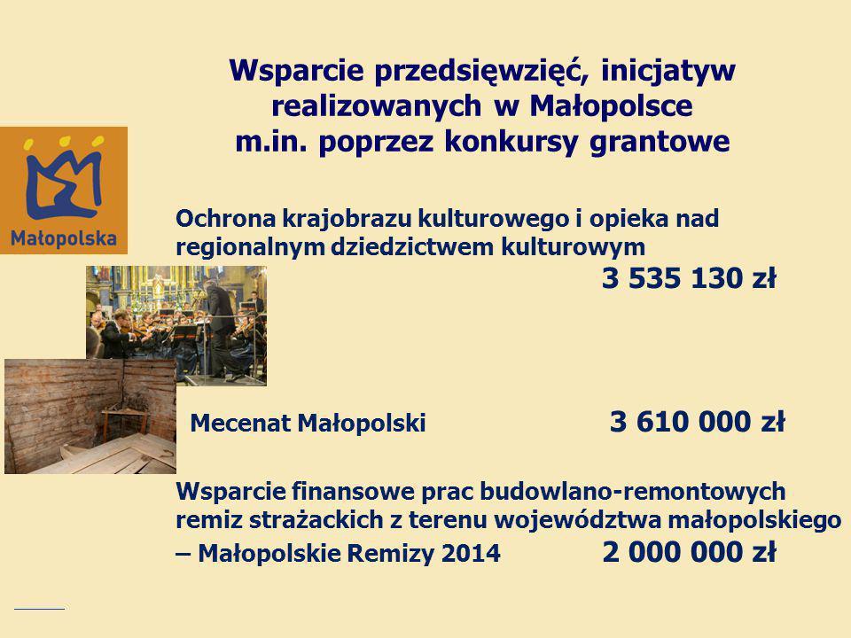 Wsparcie przedsięwzięć, inicjatyw realizowanych w Małopolsce m. in