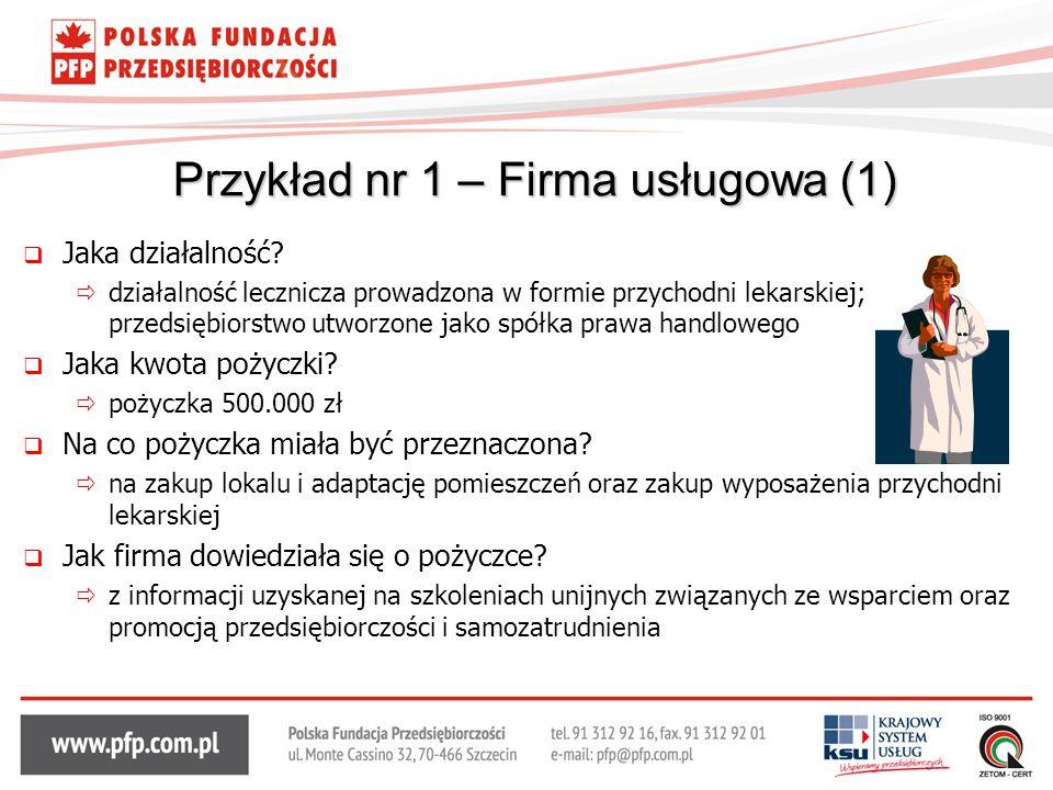 Przykład nr 1 – Firma usługowa (1)
