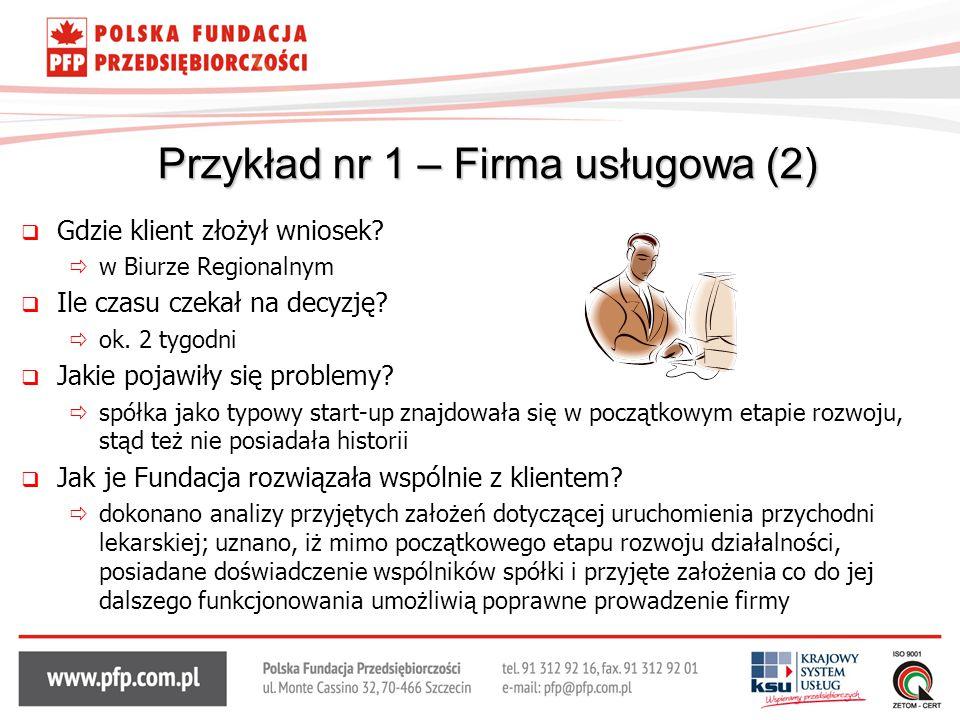 Przykład nr 1 – Firma usługowa (2)