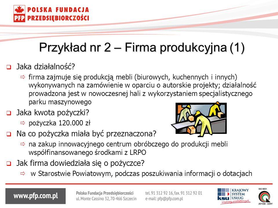Przykład nr 2 – Firma produkcyjna (1)