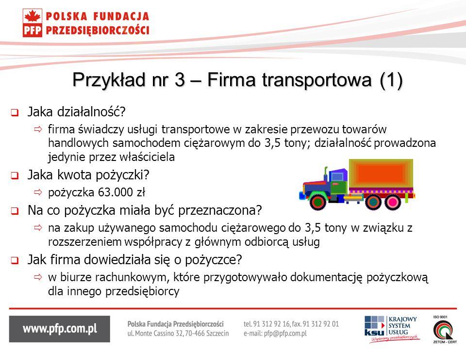 Przykład nr 3 – Firma transportowa (1)