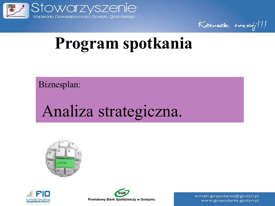 Program spotkania Biznesplan: Analiza strategiczna.