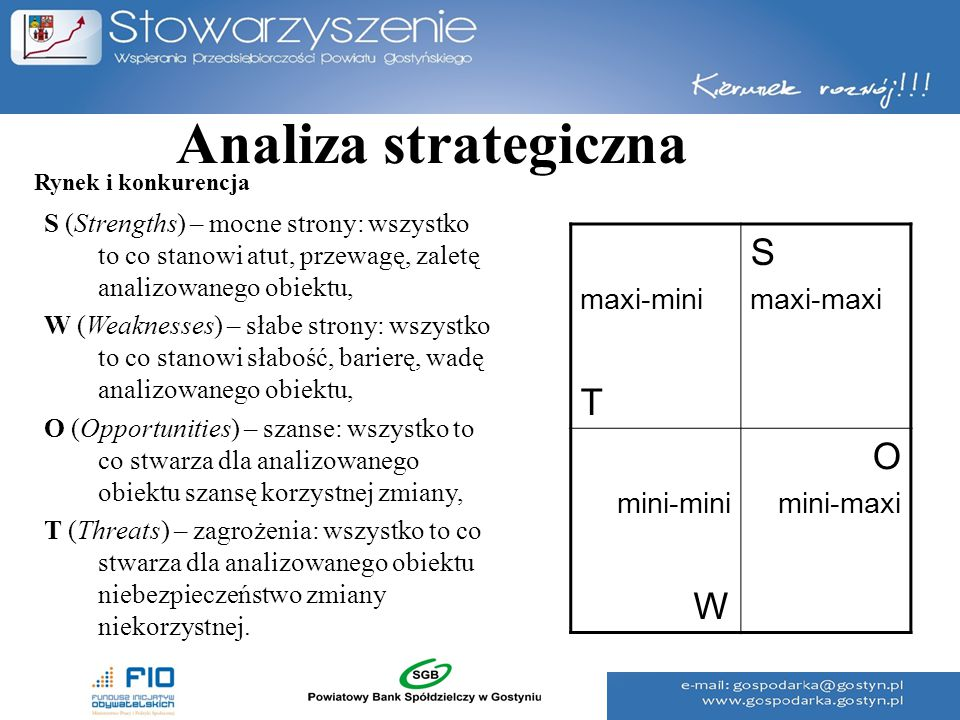 Analiza strategiczna S T O W maxi-mini maxi-maxi mini-mini mini-maxi