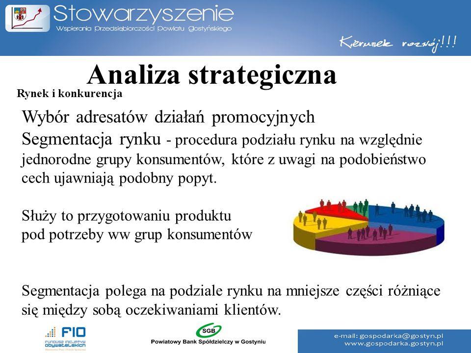 Analiza strategiczna Wybór adresatów działań promocyjnych