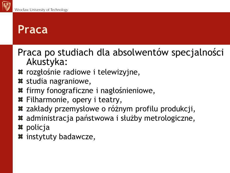 Praca Praca po studiach dla absolwentów specjalności Akustyka: