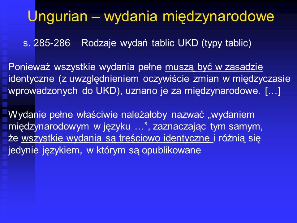 Ungurian – wydania międzynarodowe