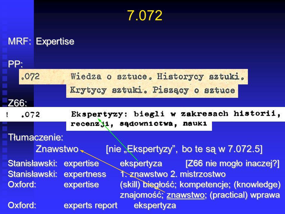 7.072 MRF: Expertise PP: Z66: Tłumaczenie: