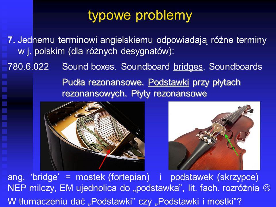 typowe problemy 7. Jednemu terminowi angielskiemu odpowiadają różne terminy w j. polskim (dla różnych desygnatów):