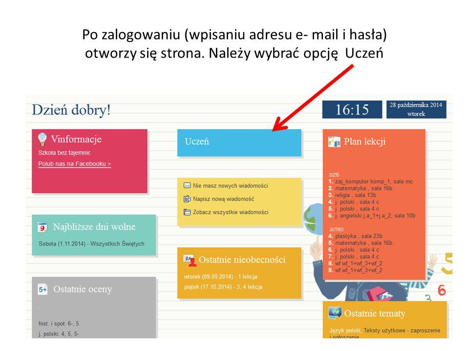 Po zalogowaniu (wpisaniu adresu e- mail i hasła) otworzy się strona