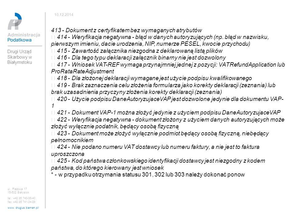 413 - Dokument z certyfikatem bez wymaganych atrybutów