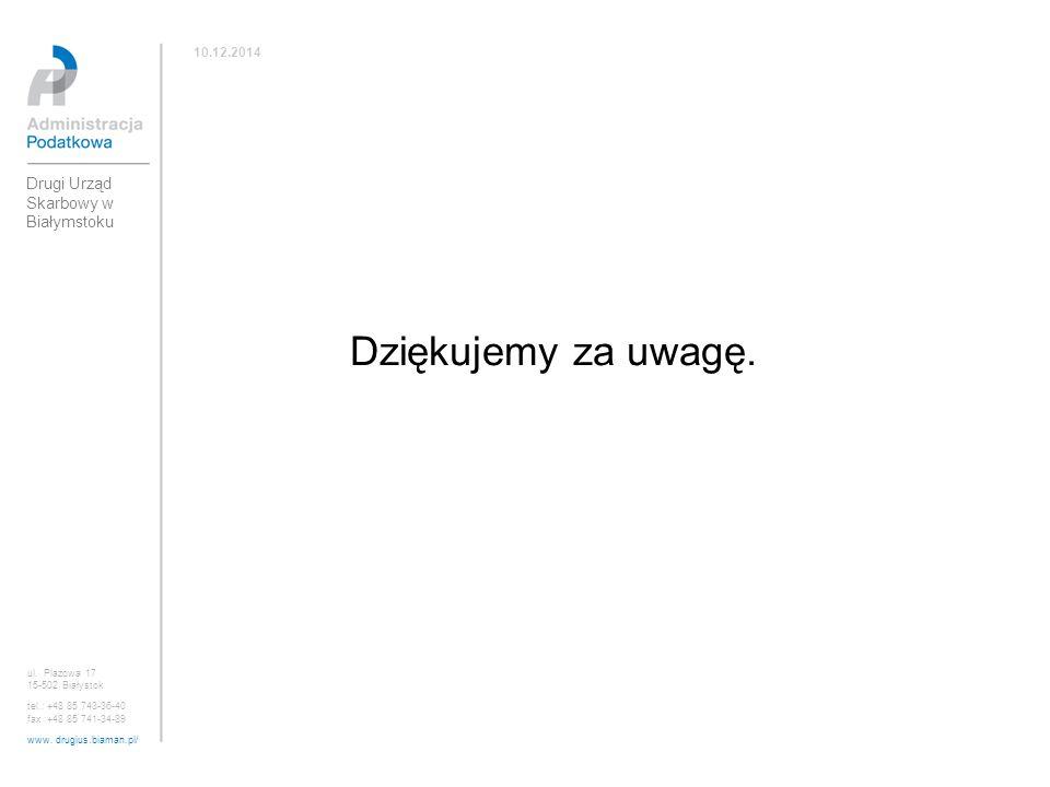 Dziękujemy za uwagę. Drugi Urząd Skarbowy w Białymstoku 10.12.2014