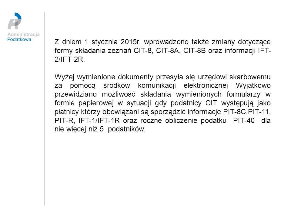 Z dniem 1 stycznia 2015r. wprowadzono także zmiany dotyczące formy składania zeznań CIT-8, CIT-8A, CIT-8B oraz informacji IFT-2/IFT-2R.