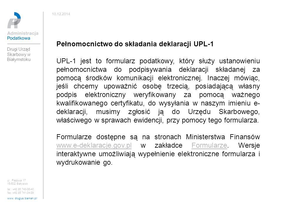 Pełnomocnictwo do składania deklaracji UPL-1