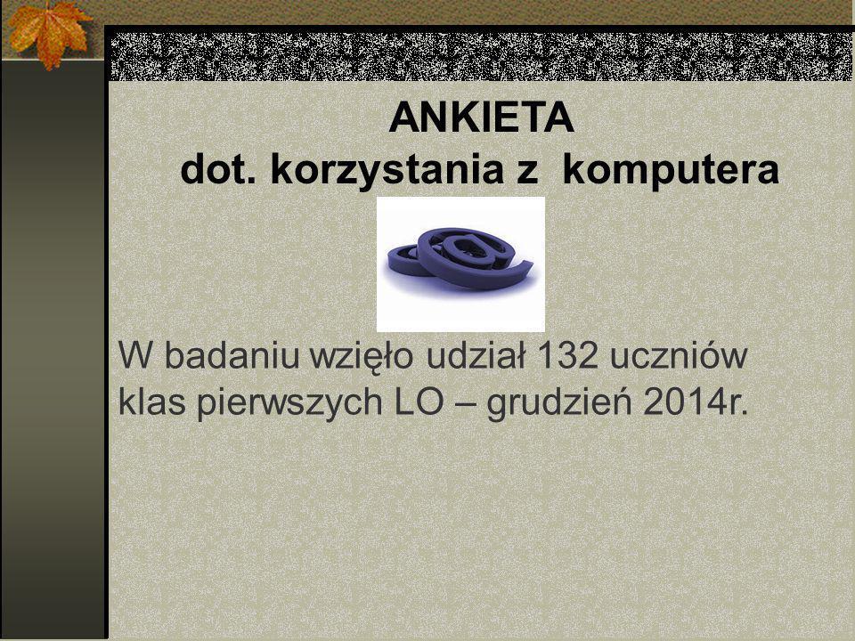 ANKIETA dot. korzystania z komputera