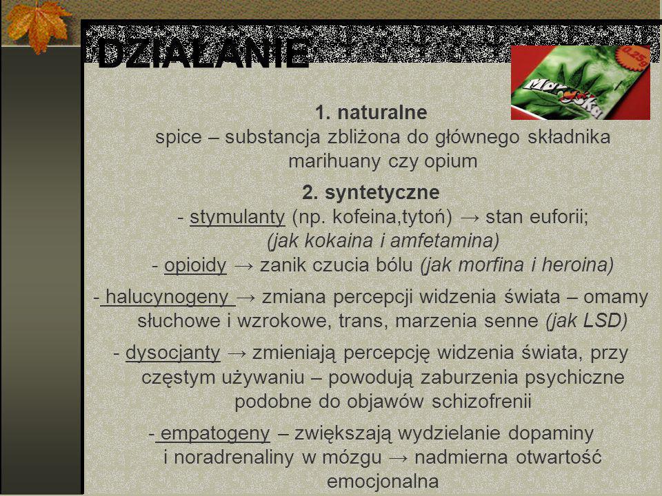 DZIAŁANIE 1. naturalne spice – substancja zbliżona do głównego składnika marihuany czy opium.