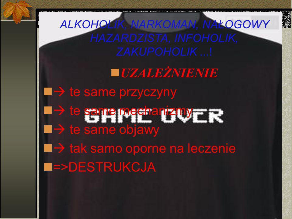 ALKOHOLIK, NARKOMAN, NAŁOGOWY HAZARDZISTA, INFOHOLIK,
