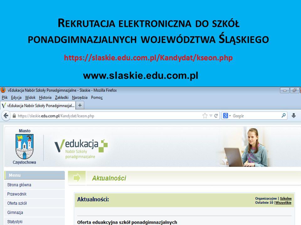 Rekrutacja elektroniczna do szkół ponadgimnazjalnych województwa Śląskiego
