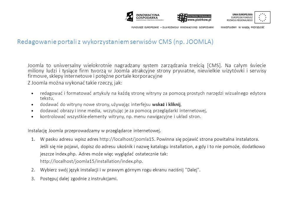 Redagowanie portali z wykorzystaniem serwisów CMS (np. JOOMLA)