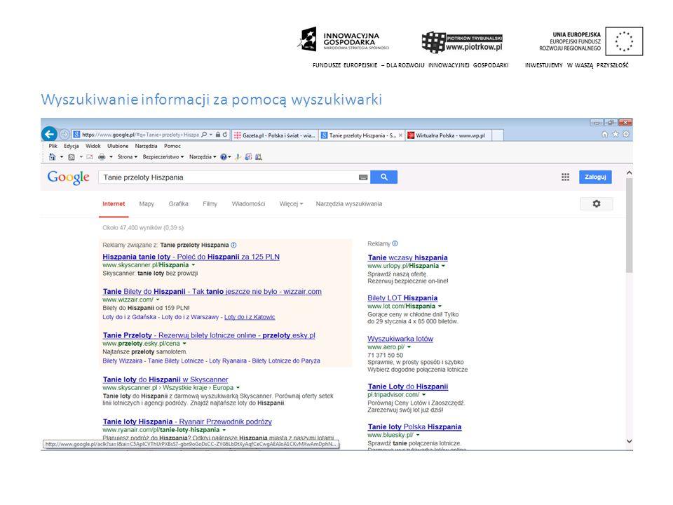 Wyszukiwanie informacji za pomocą wyszukiwarki