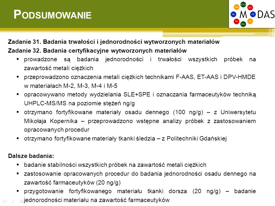 PODSUMOWANIE Zadanie 31. Badania trwałości i jednorodności wytworzonych materiałów. Zadanie 32. Badania certyfikacyjne wytworzonych materiałów.