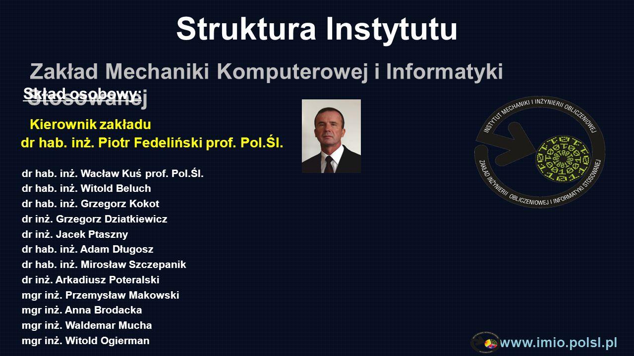 Struktura Instytutu Zakład Mechaniki Komputerowej i Informatyki Stosowanej. Skład osobowy: