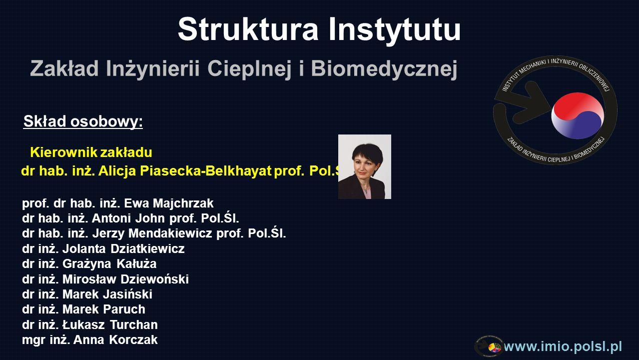 Struktura Instytutu Zakład Inżynierii Cieplnej i Biomedycznej