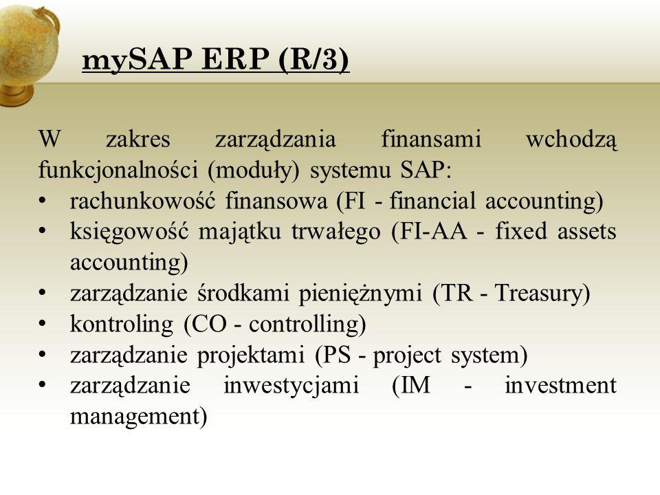 mySAP ERP (R/3) W zakres zarządzania finansami wchodzą funkcjonalności (moduły) systemu SAP: rachunkowość finansowa (FI - financial accounting)