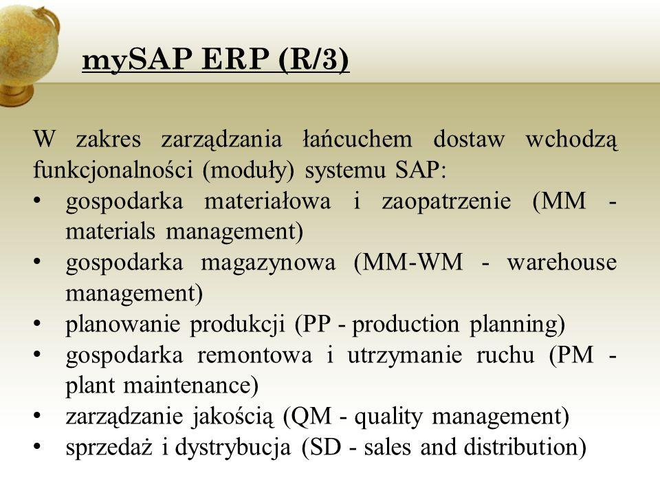 mySAP ERP (R/3) W zakres zarządzania łańcuchem dostaw wchodzą funkcjonalności (moduły) systemu SAP: