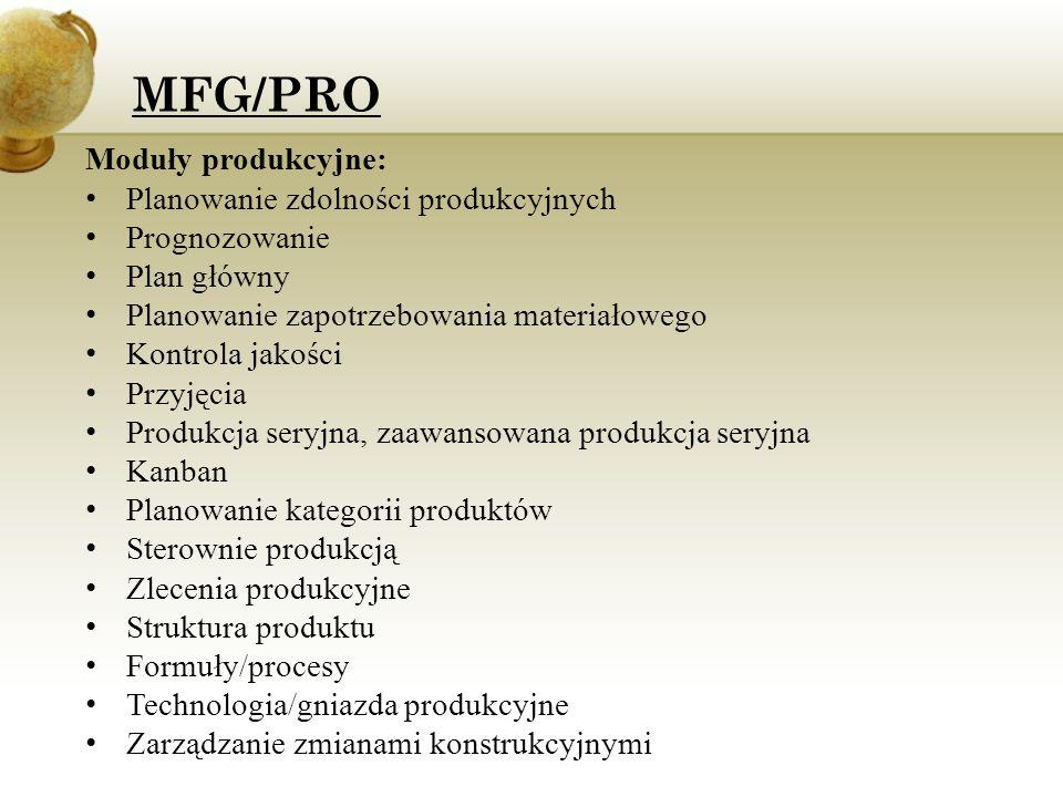 MFG/PRO Moduły produkcyjne: Planowanie zdolności produkcyjnych