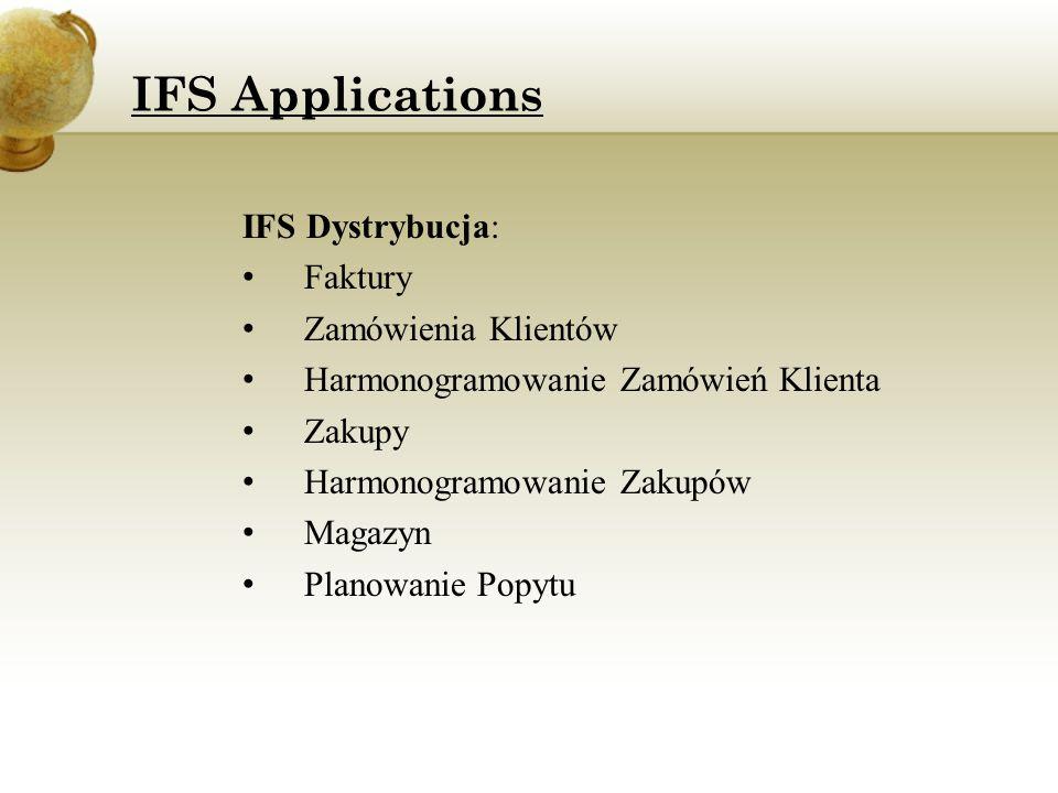IFS Applications IFS Dystrybucja: Faktury Zamówienia Klientów