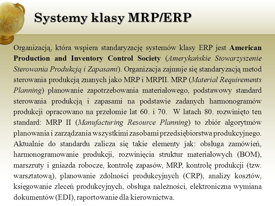 Systemy klasy MRP/ERP