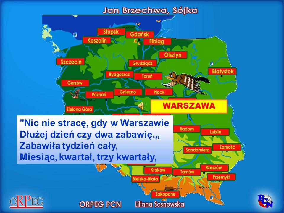 """WARSZAWA Nic nie stracę, gdy w Warszawie Dłużej dzień czy dwa zabawię."""" Zabawiła tydzień cały, Miesiąc, kwartał, trzy kwartały,"""