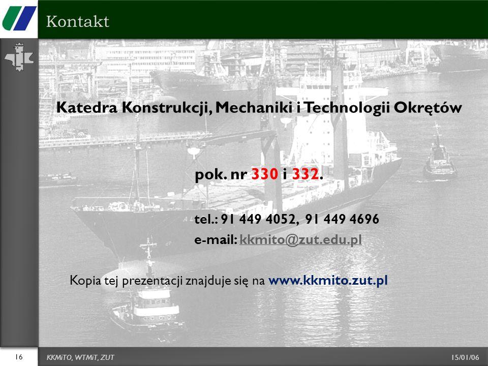 Katedra Konstrukcji, Mechaniki i Technologii Okrętów