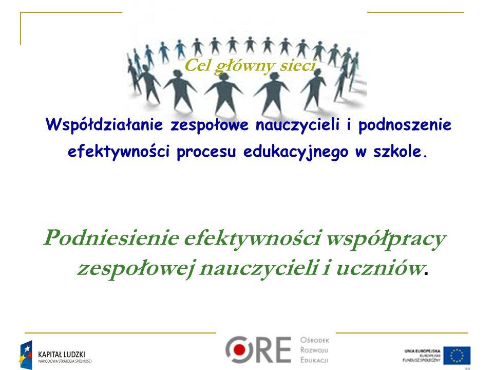 Podniesienie efektywności współpracy zespołowej nauczycieli i uczniów.
