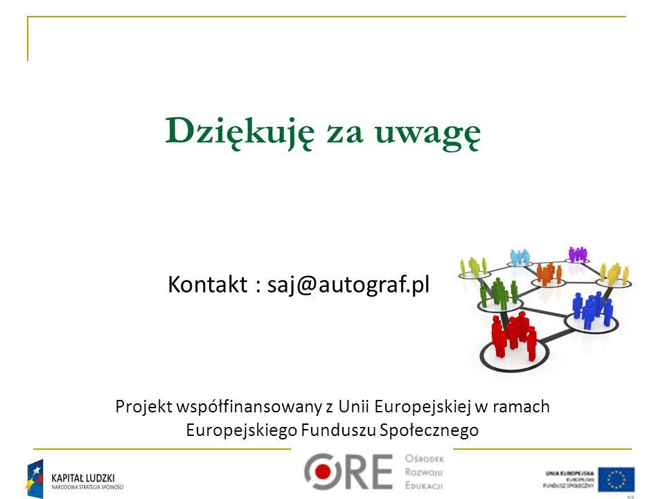 Dziękuję za uwagę Kontakt : saj@autograf.pl