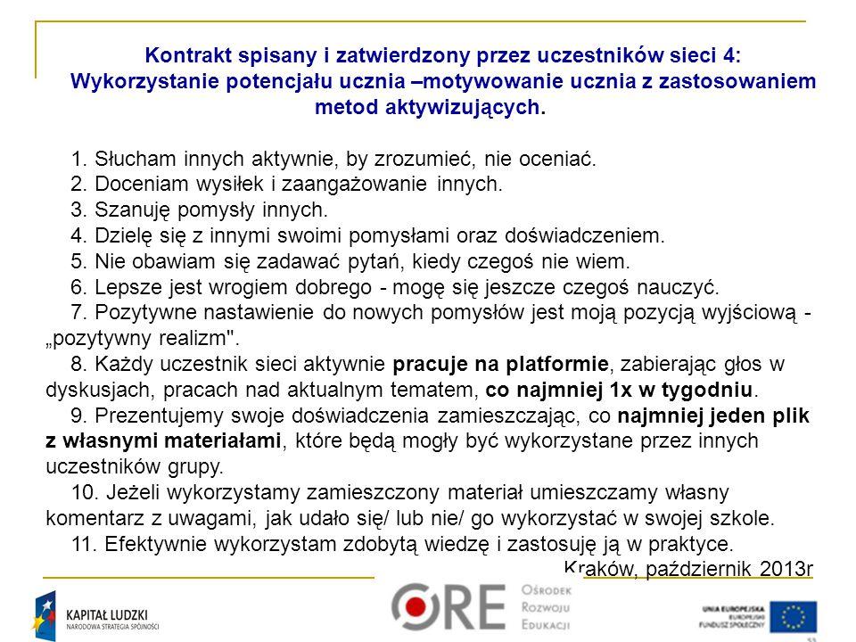 Kontrakt spisany i zatwierdzony przez uczestników sieci 4: