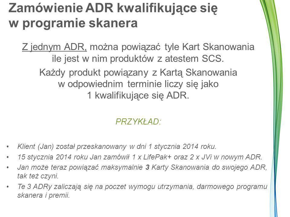 Zamówienie ADR kwalifikujące się w programie skanera