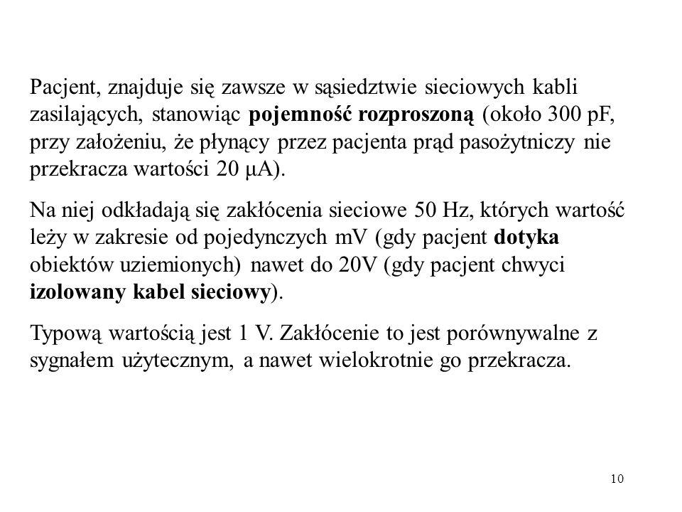 Pacjent, znajduje się zawsze w sąsiedztwie sieciowych kabli zasilających, stanowiąc pojemność rozproszoną (około 300 pF, przy założeniu, że płynący przez pacjenta prąd pasożytniczy nie przekracza wartości 20 μA).