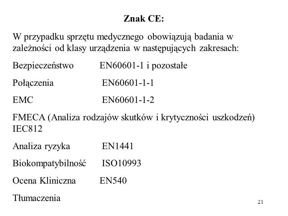 Znak CE: W przypadku sprzętu medycznego obowiązują badania w zależności od klasy urządzenia w następujących zakresach: