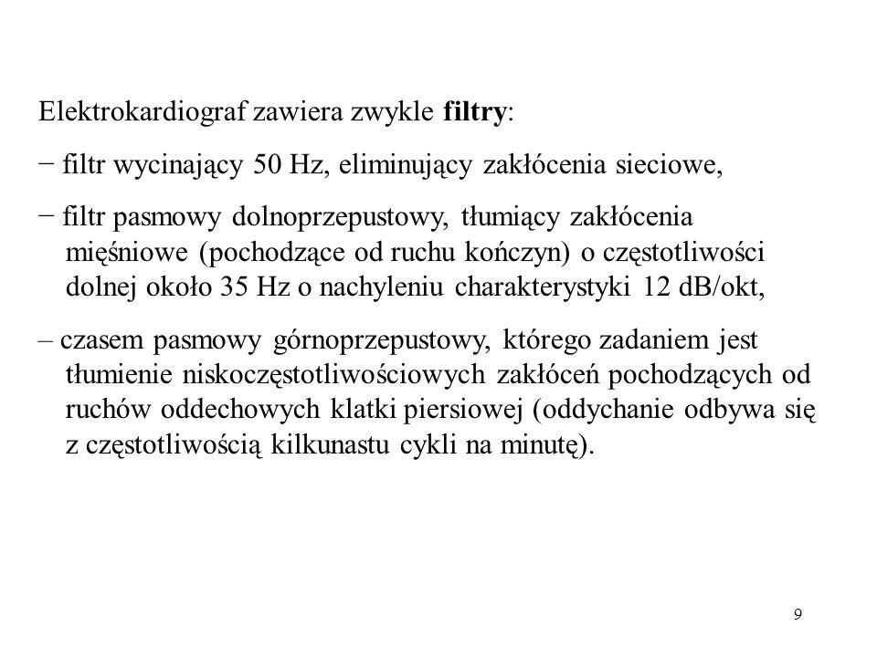 Elektrokardiograf zawiera zwykle filtry: