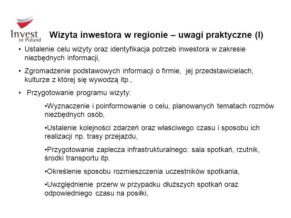 Wizyta inwestora w regionie – uwagi praktyczne (I)