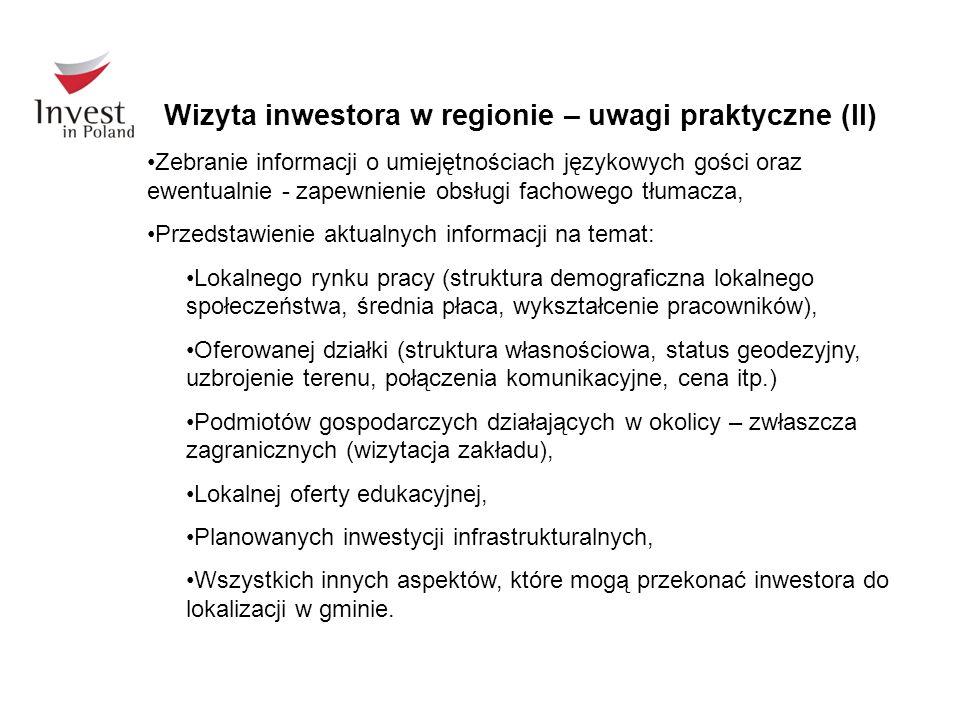 Wizyta inwestora w regionie – uwagi praktyczne (II)